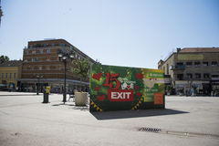 Bilboard of EXIT festival 2015 in city center of Novi Sad. NOVI SAD, SERBIA - June 2nd, 2015: Huge bilboard of major European music festival EXIT in the city royalty free stock photography