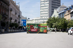 Bilboard of EXIT festival 2015 in city center of Novi Sad. NOVI SAD, SERBIA - June 2nd, 2015: Huge bilboard of major European music festival EXIT in the city stock image