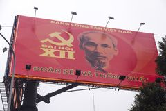 Bilboard with Ho Chi Minh. Ho Chi Minh is one of the founders of the Vietnamese communist party. He was also president of the North Vietnam during the time when royalty free stock image