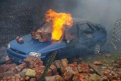 Bilbrand och explosion Royaltyfri Foto
