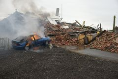 Bilbrand och explosion Royaltyfria Foton