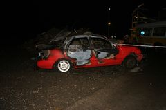 Bilbrand och explosion Royaltyfria Bilder