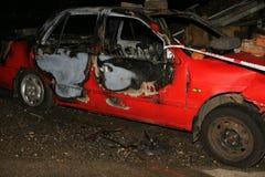 Bilbrand och explosion Arkivfoto