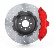 Bilbromsdiskett och röd klämma som isoleras på vit Arkivbild