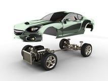 Bilchassi med motorn av lyxigt brandless sportcar Arkivfoto