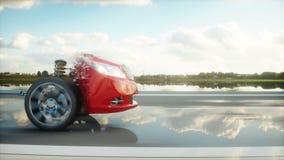 Bilchassi med motorn på huvudvägen övergång Mycket snabb körning AUTO begrepp Realistisk animering 4K