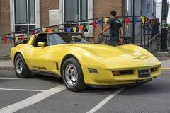 bilchevrolet klassisk corvette red Arkivfoton