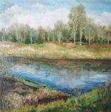 BildÖlfarben auf einem Segeltuch: Frühlingslandschaft Stockbild