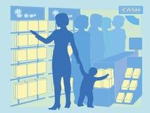 Bild als Käufer schließt einen Spontankauf von einem Produkt ab Lizenzfreie Stockfotografie