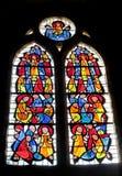 Bild auf Buntglas in der Kirche Stockfotos