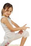 Bild auf lagerdes glücklichen Mädchens, lokalisiert auf Weiß stockbild