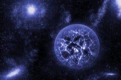 Bild av att krascha, exploderande planet i djupt utrymme, universum med bakgrund för stjärnafält Dator frambragd abstrakt bakgrun Arkivfoto