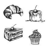 Bild av bakelser och giffel på en vit bakgrund vektor illustrationer