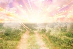 Bild av den abstrakta banan till himmel eller himmel se det ljusa begreppet eller vägen till frihet stock illustrationer