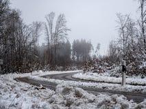 Bild av den dimmiga och snöig vintervägen royaltyfri bild