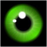 Bild av den gröna eleven av ögat, ögonboll, irisöga Realistisk vektorillustration som isoleras på svart bakgrund vektor illustrationer