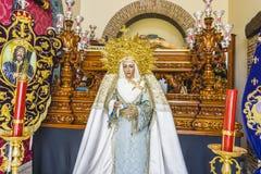 bild av den jungfruliga Maryen inom en kyrkliga Marbella, Andalucia Spa royaltyfri fotografi