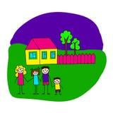 Bild av den lyckliga familjen med huset Arkivbilder