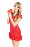 Bild av den lyckliga unga blonda kvinnan Royaltyfri Foto