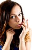 Bild av den lyxiga försiktiga kvinnan arkivfoto