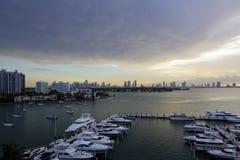Bild av den Miami Beach fartygmarina Arkivbild