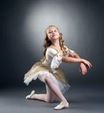 Bild av den trevliga lilla ballerina som poserar på kameran Arkivbilder