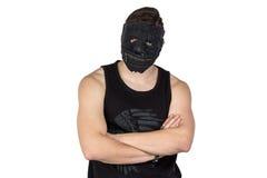 Bild av den unga mannen i svart maskering Royaltyfria Foton