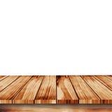 Bild av den wood tabellen för perspektiv på vit bakgrund Vektor Illustrationer