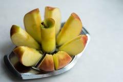 Bild av det röda äpplesnittet in i stycken royaltyfri bild