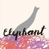 Bild av elefanten, symbol för rengöringsduken, etikett, minsta dynamisk design, baner Hand dragen designbeståndsdel stock illustrationer