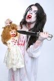 Bild av en blödande psykotisk kvinna Arkivbilder