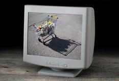 Bild av en spårvagn med gods på en datorskärm Royaltyfria Bilder