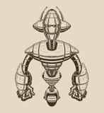 Bild av en tecknad filmmetallrobot med antenner på Arkivbilder