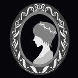 Bild av en ung härlig dam med en kort frisyr i en oval ram royaltyfri illustrationer