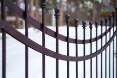Bild av ett bearbetat staket för härlig dekorativ ensemblemetall med det konstnärliga smidet Järnledstångslut upp royaltyfria foton