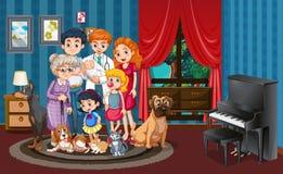 Bild av familjen i huset vektor illustrationer