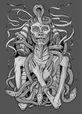Bild av faraomamman med ormar Vektor Illustrationer
