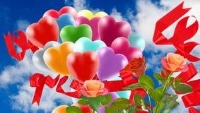 Bild av härliga blommor och färgrika ballonger på himmelbakgrund Arkivbilder