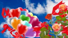 Bild av härliga blommor och färgrika ballonger på himmelbakgrund Fotografering för Bildbyråer