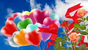 Bild av härliga blommor och färgrika ballonger på himmelbakgrund Royaltyfri Foto