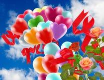 Bild av härliga blommor och färgrika ballonger på himmelbakgrund Arkivfoton