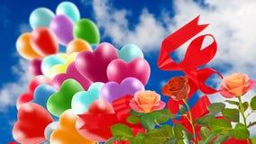Bild av härliga blommor och färgrika ballonger på himmelbakgrund Royaltyfri Bild