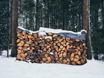 Bild av högen av trä med insnöat skogen i vintern arkivbilder