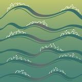 Bild av havet med vågor sun för hav för bakgrundsfiordsstråle royaltyfri illustrationer