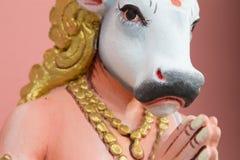 Bild av hinduiskt be för staty för sakral ko Arkivbilder