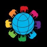 Bild av jordklotet som omges av de kulöra konturerna av rinnande elefanter Royaltyfri Bild