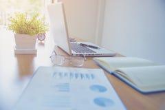 Bild av kaffekoppen och bärbar datordatoren, anteckningsbok på skrivbordet av woren arkivfoton