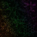 Bild av kemisk teknologiabstrakt begreppbakgrund Vetenskapstapet med skolakemiformler och strukturer Royaltyfri Fotografi