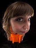 Bild av kvinnan i den orange klänningen, fisköga Royaltyfri Bild