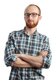 Bild av mannen med rött posera för skägg som isoleras på vit Arkivbild